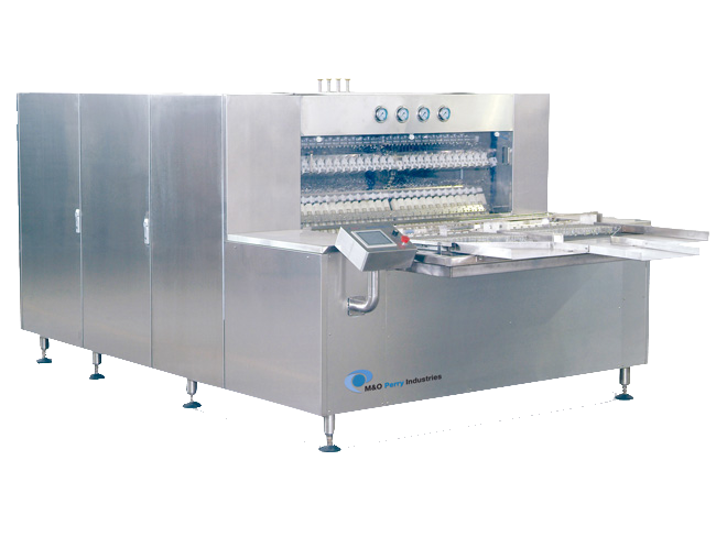Linear Washing Machine    	Efficient in-line/tunnel washing and air-blowing of vials or bottles 	Output up to 400 cpm (24,000 cph) 	Container sizes: 1R – 100H 	Intermittent motion cleaning 	High capacity for larger containers
